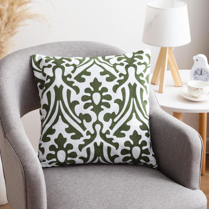 Наволочка декоративная 40х40 см, Monograms green, 100% хлопок - фото 7404266