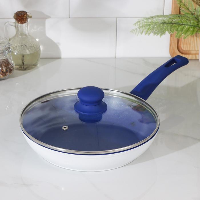 Сковорода кованая Доляна «Свиристель», d=24 см, со стеклянной крышкой, индукция