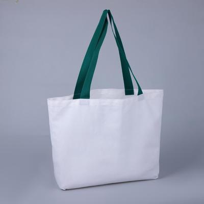 Сумка шопер, отдел без молнии, цвет белый/зелёный