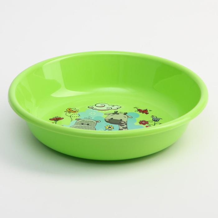 Миска - тарелочка детская глубокая «Друзья», цвет зеленый, 550 мл - фото 282126441