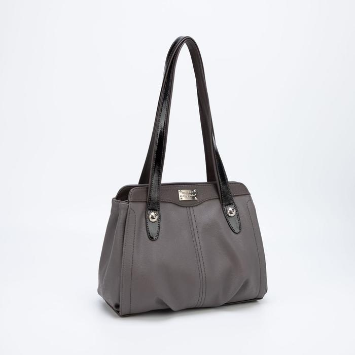 Сумка женская, отдел на молнии с перегородкой, наружный карман, цвет серый - фото 796163