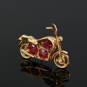 "Сувенир ""Мотоцикл"" 8,5х1,5х5 см, с 6-ю прозрачными кристаллами Сваровски"