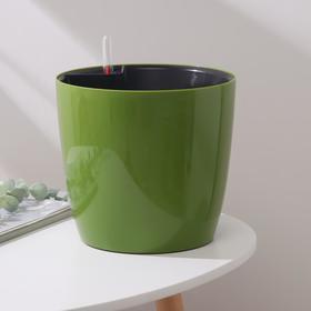 Горшок с автополивом Техоснастка «Комфорт», 5,5 л (вставка 2,7 л), цвет оливковый