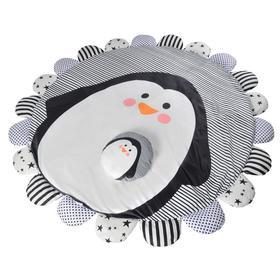 Коврик детский «Пингвин», 170х170 см, складной, цвет серый