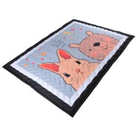 Коврик-одеяло «Зверушки», 150х200 см, складной, стёганый, цвет серый