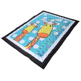 Коврик-одеяло «Жирафы», 150х200 см, складной, стёганый, цвет голубой