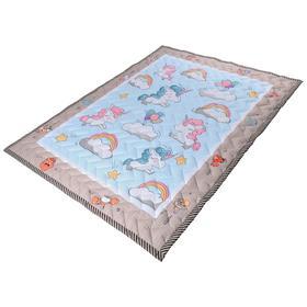 Коврик-одеяло «Единороги», 150х200 см, складной, стёганый, цвет голубой