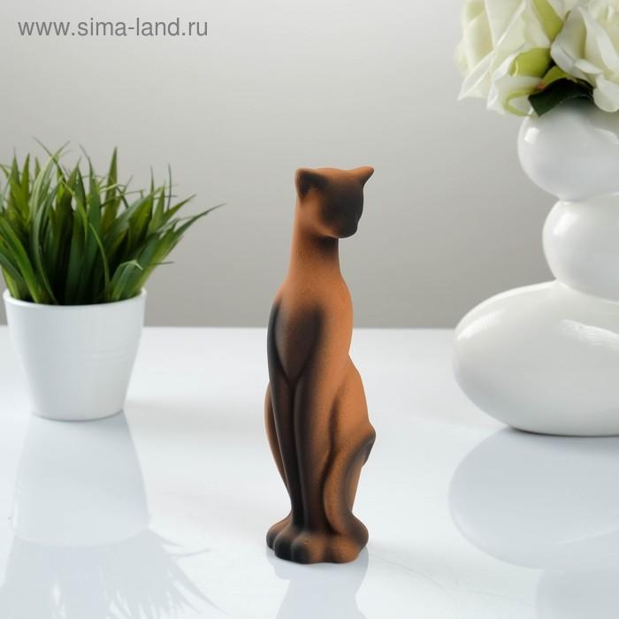 """Сувенир """"Кошка Багира"""" наклоненная, коричневая, черный подпал"""