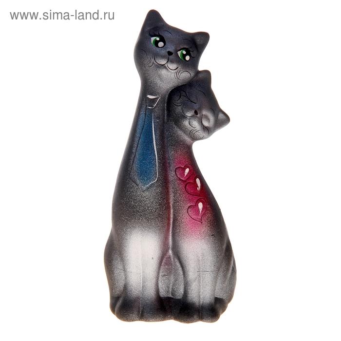 """Сувенир """"Love Коты"""" галстук и сердечко черные с серебром"""