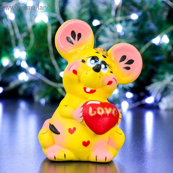 "Копилка ""Мышь с сердцем"" жёлтая"