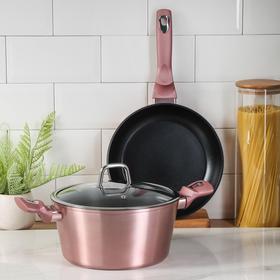 Набор посуды Berlinger Haus I-Rose Edition, 3 предмета: сковорода, кастрюля, стеклянная крышка