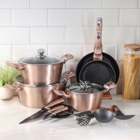 Набор посуда Berlinger Haus Rosegold Line, 17 предметов: 2 сковороды, 3 кастрюли, 4 кухонных инструмента, 3 ножа, 3 стеклянных крышки, 2 подставки