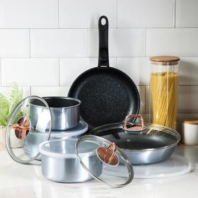 Набор посуды Berlinger Haus Moonlight Edition, 12 предметов: 2 сковороды, 3 кастрюли, 3 стеклянных крышки, 3 пластиковых крышки, ручка