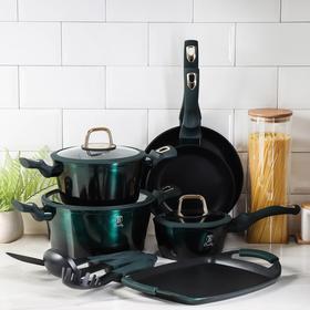 Набор посуды Berlinger Haus Emerald Collection, 12 предметов: 2 сковороды, 2 кастрюли, 1 ковш, 3 стеклянных крышки, плато-гриль, 3 кухонных инструмента