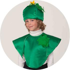 """Карнавальный костюм """"Огурец"""", накидка, головной убор, р.30, рост 116 см"""
