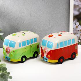"Копилка керамика ""Яркий автобус в цветочек""МИКС 9,5х13,5х8,5 см"