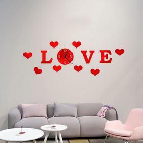 """Часы-наклейка """"Love"""", d часы=15 см, буквы 11 см, сердца 8х6 см, красные"""