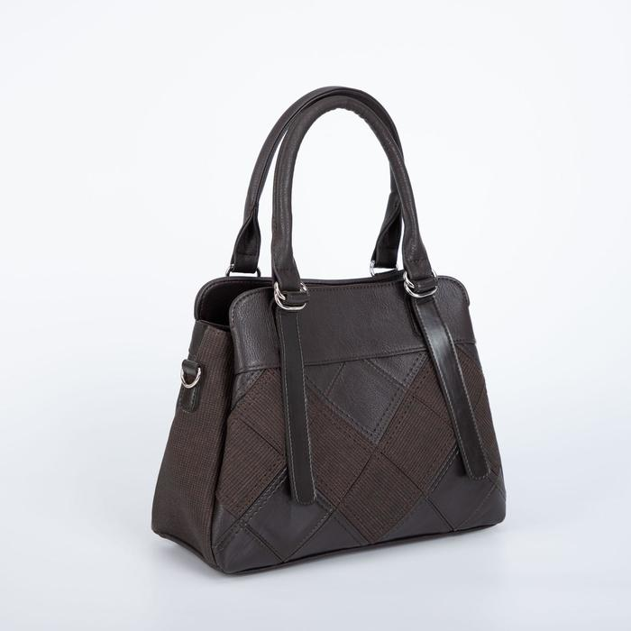 Сумка женская, 3 отдела на молниях, наружный карман, длинный ремень, цвет коричневый - фото 796945