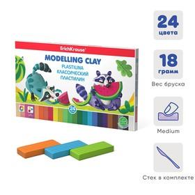 Пластилин 24 цвета, 432 г, ErichKrause, со стеком, в картонной упаковке
