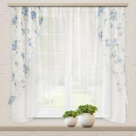 A set of curtains for the kitchen Ophelia 300x160 cm, blue, pe 100%