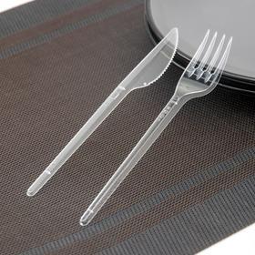 """Набор столовых приборов """"Стандарт"""" 2 в 1, вилка + нож, цвет прозрачный"""