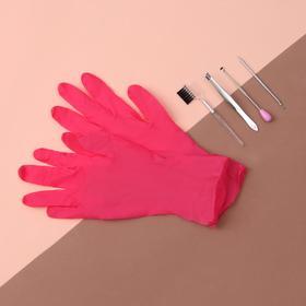 Набор косметологический, 5 предметов, цвет серебристый/розовый Ош
