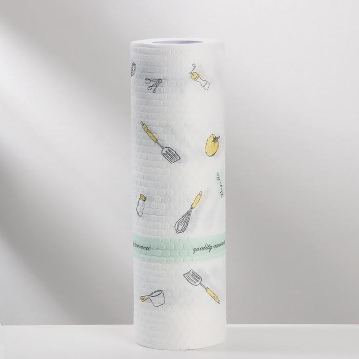 Рулон салфеток универсальных Доляна «Кухня», 25×25 см, 50 шт, цвет белый