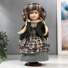 """Кукла коллекционная керамика """"Блондинка с косами, платье шотландская клетка"""" 30 см"""