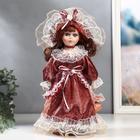 """Кукла коллекционная керамика """"Маленькая мисс в бордовом платье"""" 30 см"""