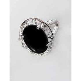 """Кольцо с чёрным ониксом """"Греческое"""", родирование , размер 16"""