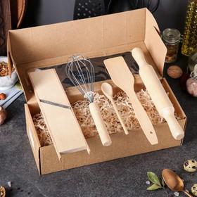 """Набор кухонный """"Хозяйка"""", 3 предмета: молоток для мяса, лопатка, ложка"""