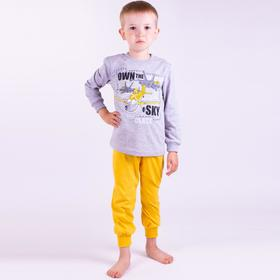 Пижама для мальчика, цвет серый/горчичный, рост 122 см