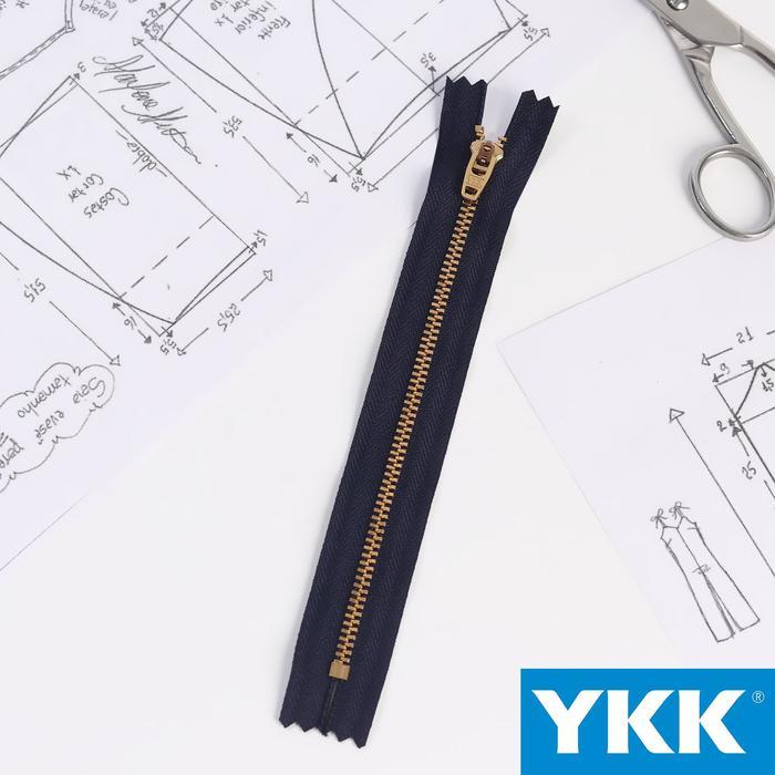 Молния джинсовая «Трактор», №3, неразъёмная, 18 см, цвет тёмно-синий/латунь