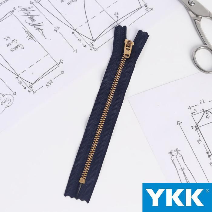 Молния джинсовая «Трактор», №3, неразъёмная, 16 см, цвет тёмно-синий/латунь