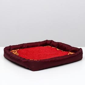 """Лежанка с бортом """"Узор красный"""", 42 х 42 х 5 см, микс цветов"""