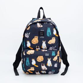 Рюкзак, отдел на молнии, наружный карман, цвет синий, «Коты»