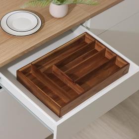 Подставка для столовых приборов , 45×30,5×6,5 см, акация