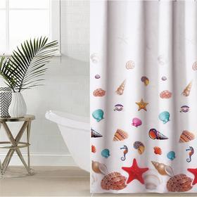 Штора для ванной комнаты Доляна «Море», 180×180 см, полиэстер