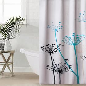 Штора для ванной комнаты Доляна «Укроп», 180×180 см, полиэстер, с люверсами, цвет белый
