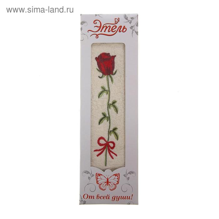 """Полотенце махровое """"Этель"""" Роза милк в коробке 30*65 см 100% хлопок, 445 гр/м2"""