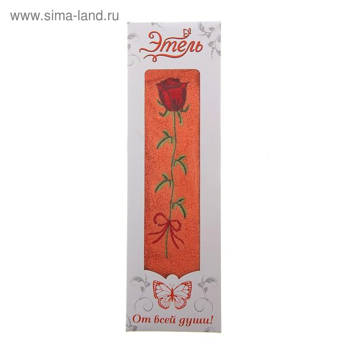 """Полотенце махровое """"Этель"""" Роза ред в коробке 30*65 см 100% хлопок, 445 гр/м2"""