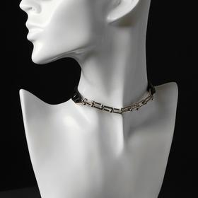 """Чокер """"Цепь"""" модерн, цвет чёрный в серебре , длина 41см"""