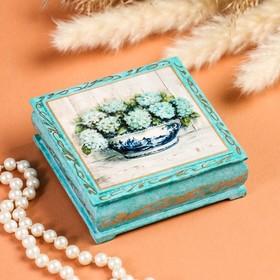 Шкатулка «Гортензии в вазе», ,бирюза, 10×10 см, лаковая миниатюра