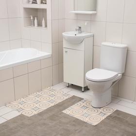 Набор ковриков для ванны и туалета Вилина «Круги», 2 шт: 50×52, 50×85 см