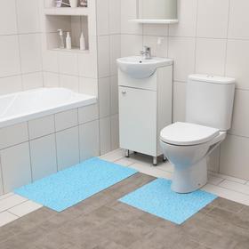 Набор ковриков для ванны и туалета Вилина «Пузыри», 2 шт: 50×52, 50×85 см