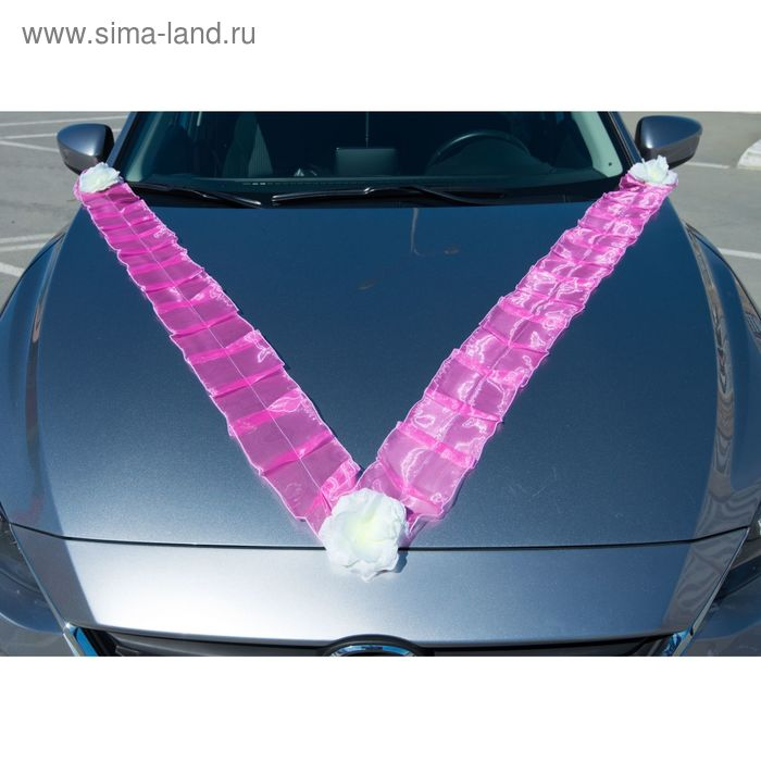 "Лента на капот V-образная ""Волна с цветами"", огранза, 300*15см, розовая с белыми цветами"