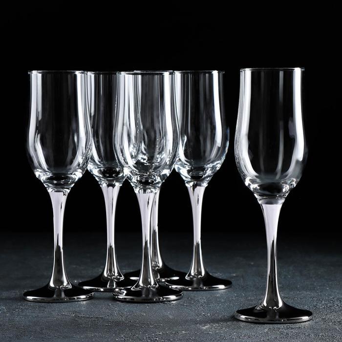 Набор бокалов для шампанского «Венеция», 190 мл, 6 шт, цвет серебро - фото 1454784