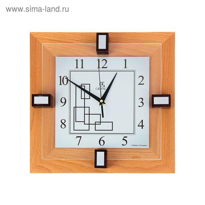 """Часы настенные деревянные квадратные """"Grance"""", цвет светлый орех, арабский циферблат"""