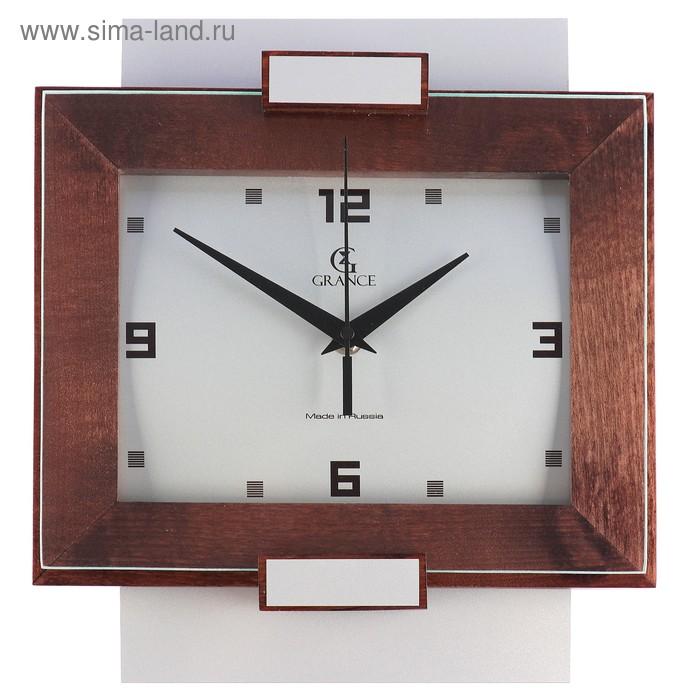 """Часы настенные деревянные застекленные """"Grance"""", арабские цифры, металл и темное дерево"""