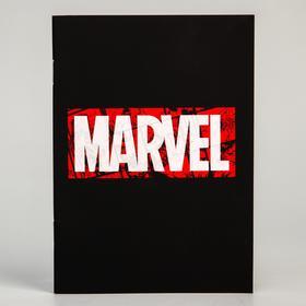 Блокнот А6 на скрепке, 32 листа в обложке софт-тач, Marvel black, Мстители